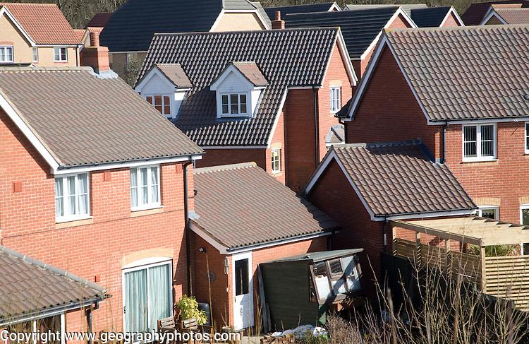 High density modern housing on greenfield site, Saxmundham, Suffolk, England