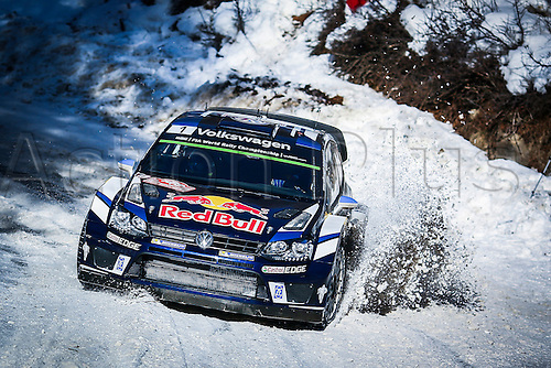 21.01.2016. Monte Carlo, Monaco. The Monte Carlo Rally 2016. The cars takes to the course. Sebastien Ogier (FR) and Julien Ingrassia (FR) - Volkswagen Polo WRC