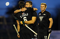 Simon Child (L) and Jacob Smith celebrate a goal during the International Hockey match between the  Blacksticks Men and Japan, TET Multisport Centre, Stratford, New Zealand. Tuesday 15  October 2019. Photo: Simon Watts/www.bwmedia.co.nz/HockeyNZ