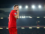 James Milner of Liverpool blows a kiss to the cop after scoring the second goal during the Premier League match at the Anfield Stadium, Liverpool. Picture date: November 26th, 2016. Pic Simon Bellis/Sportimage