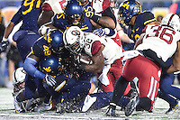 Morgantown, WV - NOV 19, 2016: Oklahoma Sooners running back Samaje Perine (32) scores a touchdown during the first quarter of the game between West Virginia and Oklahoma at Mountaineer Field at Milan Puskar Stadium Morgantown, West Virginia. (Photo by Phil Peters/Media Images International)
