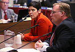 Nevada Department of Taxation Director Deonne Contine and Chief Deputy Blake Doerr testify in committee at the Legislative Building in Carson City, Nev., on Thursday, Feb. 12, 2015. <br /> Photo by Cathleen Allison
