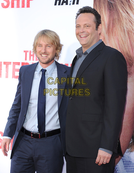 Owen Wilson &amp; Vince Vaughn<br /> &quot;The Internship&quot; Los Angeles Premiere held at the Regency Village Theatre, Westwood, California, USA.<br /> May 29th, 2013<br /> half length shirt grey gray suit black blue<br /> CAP/RKE/DVS<br /> &copy;DVS/RockinExposures/Capital Pictures