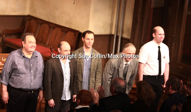 David Schramm (Wings), Lee Sellers,  , Terry Layman and Andrew Nogasky at the curtain call of Twelve Angry Men on opening night, March 16, 2012 at the George Street Playhouse, New Brunswick, NJ.  (Photo by Sue Coflin/Max Photos)