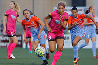 Rochester, NY - Saturday Aug. 27, 2016: Rachel Daly, Lynn Williams, Poliana Barbosa during a regular season National Women's Soccer League (NWSL) match between the Western New York Flash and the Houston Dash at Rochester Rhinos Stadium.
