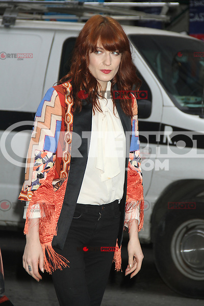 May 09 , 2012 Florence Welch of Florence and the Machine arriving at Late Show with David Letterman in New York City. Credit: RW/MediaPunch Inc.