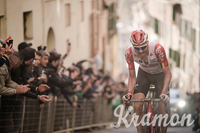 Tim Wellens (BEL/Lotto-Soudal)up the infamous, brutal last city climb towards the finish<br /> <br /> 13th Strade Bianche 2019 (1.UWT)<br /> One day race from Siena to Siena (184km)<br /> <br /> ©kramon