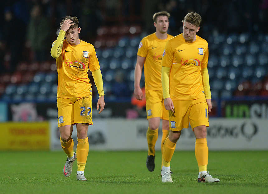 Preston North End players look dejected at the final whistle.  Some fans appeared to be booing them<br /> <br /> Photographer Dave Howarth/CameraSport<br /> <br /> Football - The Football League Sky Bet Championship - Huddersfield Town v Preston North End - Saturday 26th December 2015 - The John Smith's Stadium - Huddersfield<br /> <br /> &copy; CameraSport - 43 Linden Ave. Countesthorpe. Leicester. England. LE8 5PG - Tel: +44 (0) 116 277 4147 - admin@camerasport.com - www.camerasport.com
