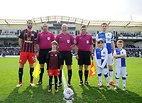 Blackburn Rovers' Charlie Mulgrew and Bristol Rovers' Tom Lockyer with the mascots before kick off <br /> <br /> Photographer Ashley Crowden/CameraSport<br /> <br /> The EFL Sky Bet League One - Bristol Rovers v Blackburn Rovers - Saturday 14th April 2018 - Memorial Stadium - Bristol<br /> <br /> World Copyright &copy; 2018 CameraSport. All rights reserved. 43 Linden Ave. Countesthorpe. Leicester. England. LE8 5PG - Tel: +44 (0) 116 277 4147 - admin@camerasport.com - www.camerasport.com