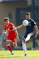 Stephen McLaughlin of Southend United in action during the Sky Bet League 1 match between Southend United and MK Dons at Roots Hall, Southend, England on 21 April 2018. Photo by Carlton Myrie.