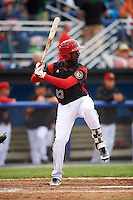 Batavia Muckdogs first baseman Javier Lopez (23) during a game against the West Virginia Black Bears on June 28, 2016 at Dwyer Stadium in Batavia, New York.  Batavia defeated West Virginia 3-1.  (Mike Janes/Four Seam Images)