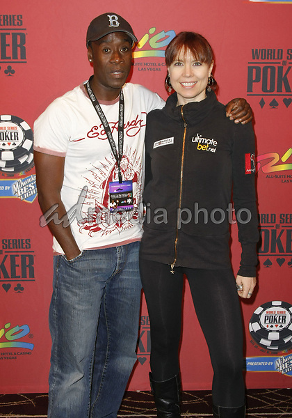 """2 July 2008 - Las Vegas, Nevada - Annie Duke and Don Cheadle. Annie Duke and Don Cheadle host the 2nd Annual """"Ante Up For Africa"""" Celebrity Poker Tournament during the 2008 World Series of Poker held at the Rio All-Suite Hotel and Casino. Photo Credit: MJT/AdMedia"""
