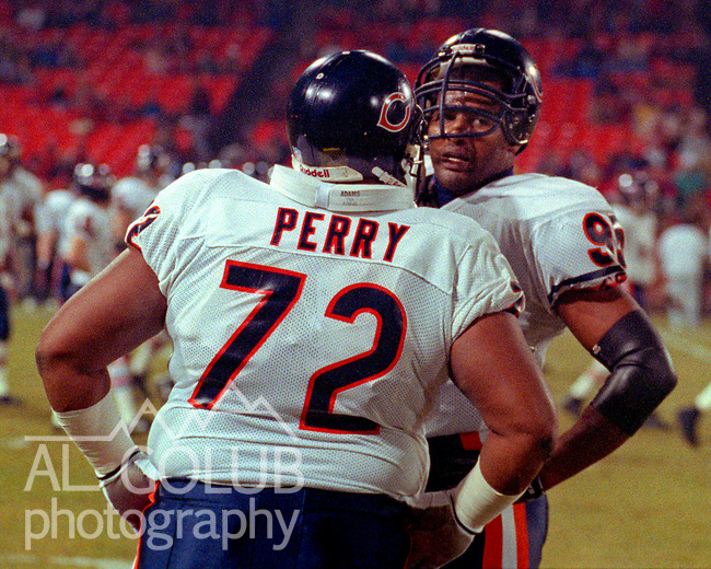 San Francisco 49ers vs. Chicago Bears at Candlestick Park Monday, December 23, 1991.  49ers beat Bears 52-14.  Bears defensive tackle William Perry (72) and defensive end Richard Dent (95) talk on sidelines.