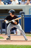 Austin Elkins (6) of the Quad Cities River Bandits squares to bunt against the West Michigan Whitecaps at Fifth Third Ballpark on May 5, 2013 in Comstock Park, Michigan.  The River Bandits defeated the Whitecaps 5-4.  (Brian Westerholt/Four Seam Images)