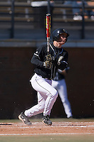 Catcher Mike Murray (16) of the Wake Forest Demon Deacons follows through on his swing versus the Clemson Tigers during the first game of a double header at Gene Hooks Stadium in Winston-Salem, NC, Sunday, March 9, 2008.