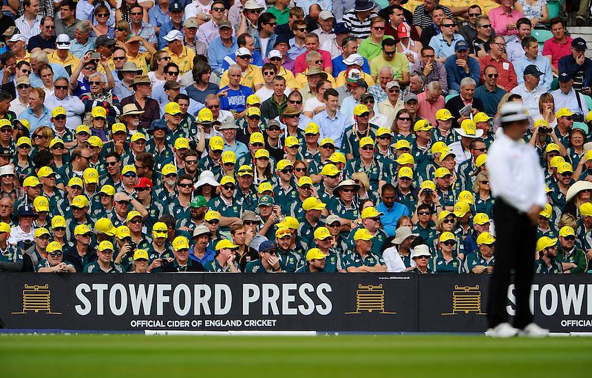 Australian fans at The Oval on the 1st day of the 5th Test<br /> <br /> Photographer Ashley Western/CameraSport<br /> <br /> International Cricket - Investec Ashes Test Series 2015 - Fifth Test - England v Australia - Day 1 - Thursday 20th August 2015 - Kennington Oval - London<br /> <br /> &copy; CameraSport - 43 Linden Ave. Countesthorpe. Leicester. England. LE8 5PG - Tel: +44 (0) 116 277 4147 - admin@camerasport.com - www.camerasport.com