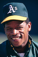 OAKLAND, CA - Oakland Athletics player Rickey Henderson poses for television at the Oakland Coliseum in Oakland, CA in 1990. Photo by Brad Mangin