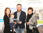 WITH COMPLIMENTS.  Attending the  Entrepreneur of the Year 2016 in the  Limerick Final of the National Enterprise Awards at a ceremony in the Dunraven Arms Hotel, Adare were Elaine McNulty, Tom O&rsquo;Neill(6 months), Eric McNulty, McNulty&rsquo;s Fuels and Mary McNulty.<br />Photograph Liam Burke/Press