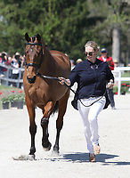 LEXINGTON, KY - April 26, 2017. #52 High Kingdom and Zara Tindall from Great Britain at the Rolex Three Day Event First Horse Inspection at the Kentucky Horse Park.  Lexington, Kentucky. (Photo by Candice Chavez/Eclipse Sportswire/Getty Images)