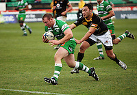 Manawatu hooker Rob Foreman beats Fa'atonu Fili to score the final try during the Air NZ Cup preseason match between Manawatu Turbos and Wellington Lions at FMG Stadium, Palmerston North, New Zealand on Friday, 17 July 2009. Photo: Dave Lintott / lintottphoto.co.nz