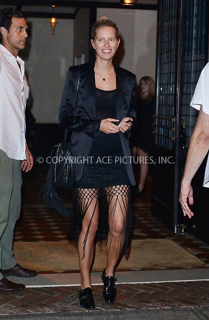 WWW.ACEPIXS.COM<br /> <br /> September 9 2015, New York City<br /> <br /> Pregnant model Karolina Kurkova goes make up free as she leaves a downtown hotel on September 9 2015 in New York City<br /> <br /> By Line: Curtis Means/ACE Pictures<br /> <br /> <br /> ACE Pictures, Inc.<br /> tel: 646 769 0430<br /> Email: info@acepixs.com<br /> www.acepixs.com