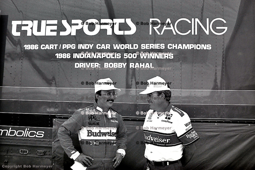 PHOENIX, AZ - APRIL 12: Bobby Rahal (left) and crew chief Steve Horne (right) at the Checker 200 on April 12, 1987, at Phoenix International Raceway near Phoenix, Arizona.
