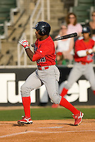 Harold Garcia #34 of the Lakewood BlueClaws follows through on his swing versus the Kannapolis Intimidators at Fieldcrest Cannon Stadium May 16, 2009 in Kannapolis, North Carolina. (Photo by Brian Westerholt / Four Seam Images)