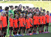 20140718 - Tonsberg , NORWAY : Belgian Line-up pictured during the female soccer match between Women under 19 teams of Norway and Belgium , on the second matchday in group A of the UEFA Women Under19 European Championship at Tonsberg Stadion , Norway . Friday 18th July 2014 . PHOTO DAVID CATRY