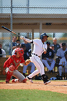 Detroit Tigers Iverson Leonardo (39) at bat during an Instructional League game against the Philadelphia Phillies on September 19, 2019 at Tigertown in Lakeland, Florida.  Catching is Micah Yonamine.  (Mike Janes/Four Seam Images)