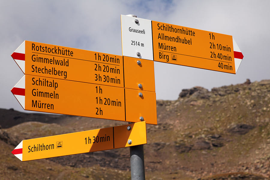 Mountain trail markers on Schilthorn mountain, Switzerland