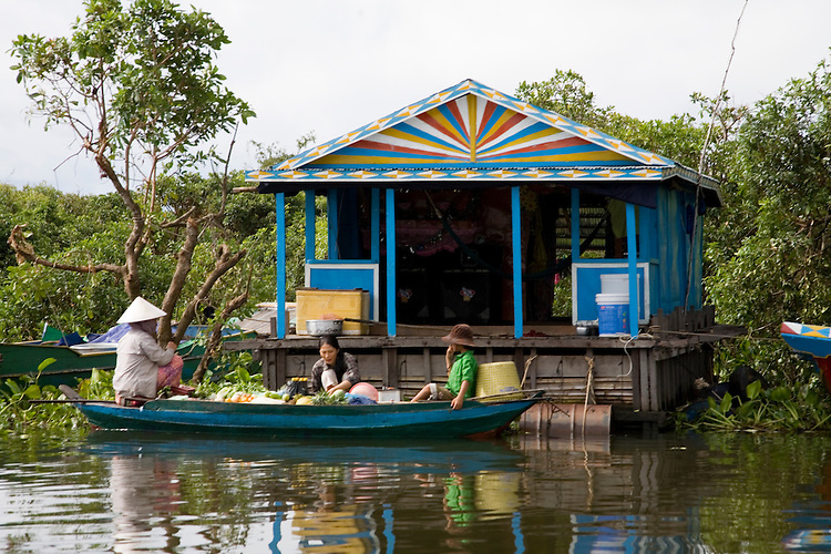 Floating village on Tonle Sap Lake in central Cambodia