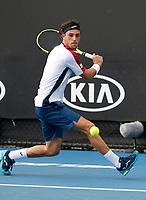 15th January 2019, Melbourne Park, Melbourne, Australia; Australian Open Tennis, day 2; Marco Cecchinato of Italy returns the ball during a match against Filip Krajinovic of Serbia