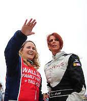 Oct. 30, 2009; Talladega, AL, USA; NASCAR Camping World Truck Series driver Chrissy Wallace (left) with Jennifer Jo Cobb during qualifying for the Mountain Dew 250 at the Talladega Superspeedway. Mandatory Credit: Mark J. Rebilas-