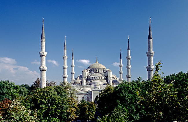 The Blue Mosque (Sultanahmet Camii) which was completed in 1616 & has 6 Minarets and 260 windows - Istanbul, Turkey