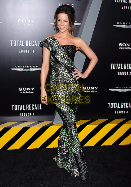 "Kate Beckinsale.""Total Recall"" Los Angeles Premiere held at Grauman's Chinese Theatre, Hollywood, California, USA..August 1st, 2012.full length dress black strapless green one shoulder snakeskin animal print paillettes hand on hip.CAP/ADM/RE.©Russ Elliot/AdMedia/Capital Pictures."