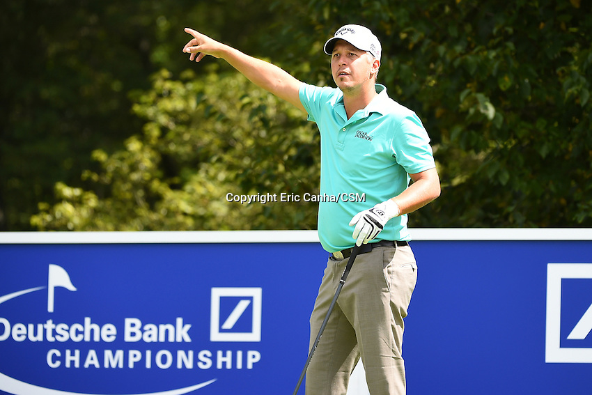 August 29, 2014 -  Norton, Mass. -  Freddie Jacobson reacts to his tee shot on the 4th hole during the first round of the PGA Deutsche Bank Championship held at the Tournament Players Club in Norton Massachusetts. Eric Canha/CSM