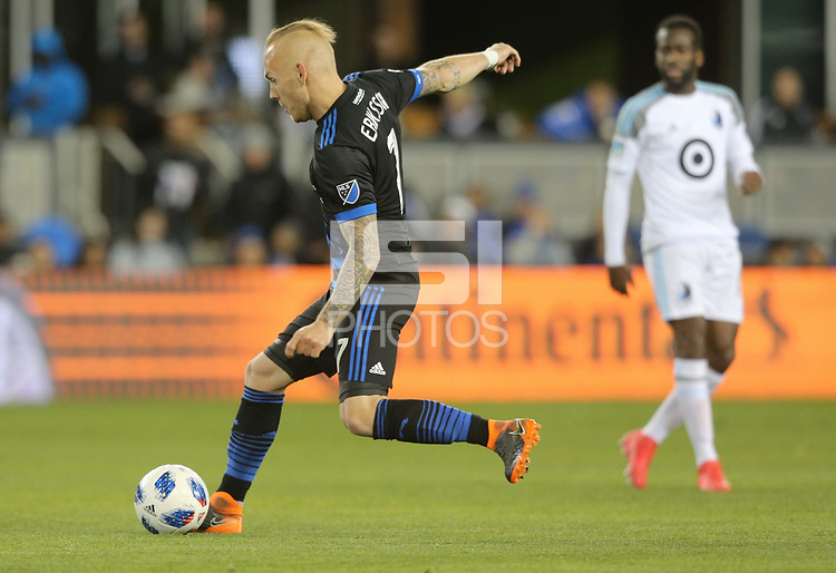 San Jose, CA - Saturday March 03, 2018: Magnus Eriksson during a 2018 Major League Soccer (MLS) match between the San Jose Earthquakes and Minnesota United FC at Avaya Stadium.