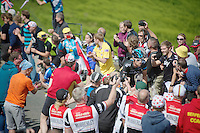 Bernie Eisel (AUT/SKY) sheered up Holme Moss Hill (521m/4.7km/7%)<br /> <br /> 2014 Tour de France<br /> stage 2: York-Sheffield (201km)