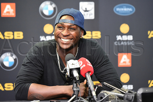 12.01.2017. ASB Tennis Centre, Auckland, New Zealand. ASB Classic Tennis, Day 13. Yankees shortstop Didi Gregorius talks to New Zealand media during the ASB Classic.