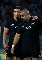 NZ's Anton Lienert-Brown and Karl Tu'inukuafe before the Steinlager Series international rugby match between the New Zealand All Blacks and France at Eden Park in Auckland, New Zealand on Saturday, 9 June 2018. Photo: Dave Lintott / lintottphoto.co.nz