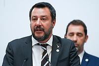Matteo Salvini - Ministre de l Interieur et Premier Ministre Italie<br /> Christophe Castaner - Ministre de l Interieur<br /> Parigi Place Beauveau 5/4/2019 <br /> G7 Ministri dell'interno <br /> Foto JB Autissier/Panoramic/Insidefoto