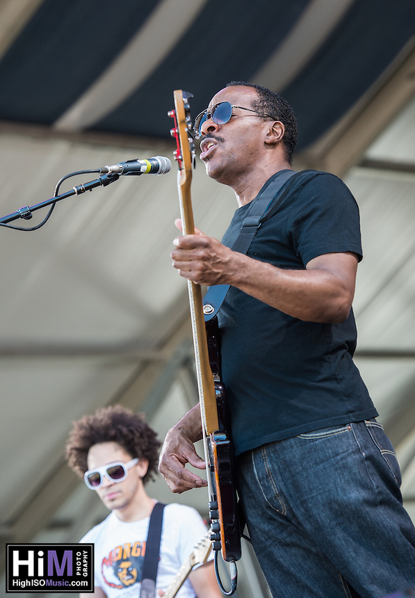 Dumpstaphunk performs at the 2014 Jazz and Heritage Festival in New Orleans, LA.