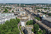 View of Camden High Street and Camden Town, looking towards Hampstead Heath from Ampthill Square.