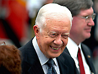 Wheaton, Maryland, USA, June 28, 2004<br /> Former President James (Jimmy) Carter attends the funeral for Mathew Stepanek at St. Catherine Labouve Catholic Church in Wheaton Maryland. Mathew died from complications of dysautonomic mitochondrial Myopathy. He had contacted President Carter months before he died and had so impressed the former President that he traveled to Maryland from Georgia to attend the funeral. Credit: Mark Reinstein/MediaPunch