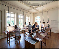 BNPS.co.uk (01202 558833)<br /> Pic: PhilYeomans/BNPS<br /> <br /> Top Secret  - The recreated map making room at the National Trust's Hughenden Manor.<br /> <br /> Secret rooms at a stately home where brilliant map-makers played a pivotal role in helping Britain to win the war have been opened to the public for the first time.<br /> <br /> Hughenden Manor, in Bucks, once home to the Victorian prime minster Benjamin Disraeli, was requisitioned by the Air Ministry in 1941 and given the codename 'Hillside'.<br /> <br /> In its confines, more than 3,500 hand drawn maps were produced for the RAF bombing campaigns, including the legendary Dambusters Raid and a raid on the Berchtesgaden, Hitler's famous mountain retreat.<br /> <br /> Previously hidden away under lock and key, these rooms have been opened for the first time for a permanent display featuring photographs, records and testimonies from some of the 100 men and women who were based there in World War Two.<br /> <br /> Since they were sworn to silence under the Official Secrets Act, Hillside's crucial wartime role in fact remained unknown until 2004, when a volunteer room guide overheard Victor Gregory, a visitor to the National Trust property, tell his grandson that he was stationed there during the war.