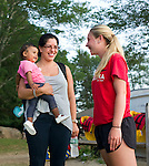 Watertown, CT- 19 August 2015-081915CM06- Camp counselor, Bri Pruchnicki of Naugatuck, right, shares a laugh with Rose Jordan and her daughter Bianca Jordan, 1 year old, of Waterbury  during family night at Camp Mataucha in Watertown on Wednesday, August 20th. 2015.  Christopher Massa Republican-American