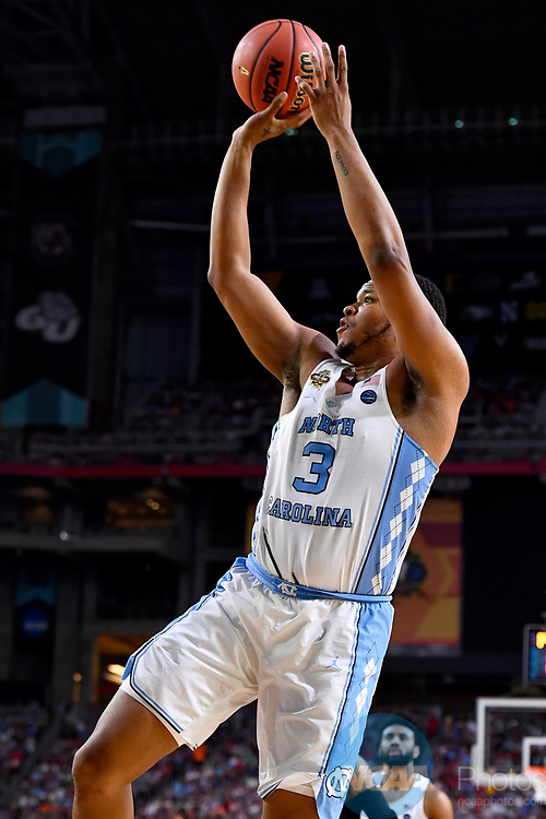 GLENDALE, AZ - APRIL 03: Kennedy Meeks #3 of the North Carolina Tar Heels shoots a jumper during the 2017 NCAA Men's Final Four National Championship game against the Gonzaga Bulldogs at University of Phoenix Stadium on April 3, 2017 in Glendale, Arizona.  (Photo by Brett Wilhelm/NCAA Photos via Getty Images)