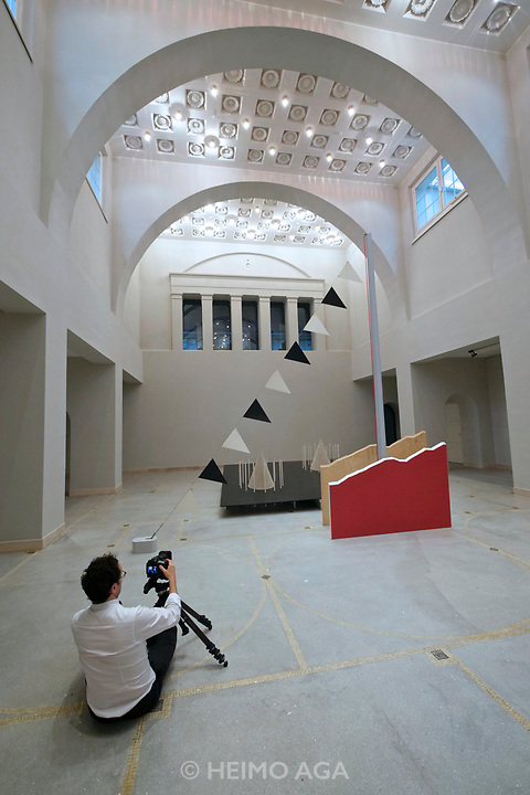 Kassel, Germany. Opening days of documenta14.<br /> Hessisches Landesmuseum.<br /> Nairy Baghramian, The Iron Table (Homage to Jane Bowles), 2002
