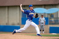 UC-Riverside Highlanders Jared Noonan (23) delivers a pitch to the plate against the Cal Poly San Luis Obispo Mustangs at Riverside Sports Complex on May 26, 2018 in Riverside, California. The Cal Poly SLO Mustangs defeated the UC Riverside Highlanders 6-5. (Donn Parris/Four Seam Images)