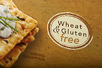 Close-up of a wheat & gluten-free logo on the packaging of snack crackers, USA